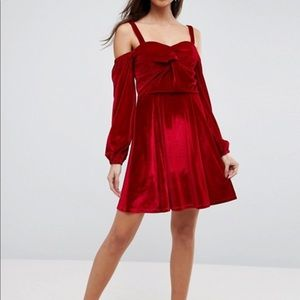 ASOS Velvet Off Shoulder Skater Dress Long Sleeves
